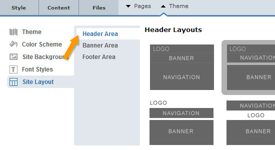 Changing Header layout of a website