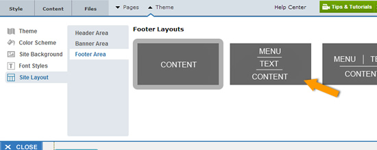 manage footer layout