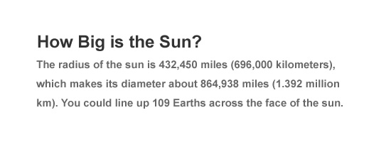 How big is the sun?