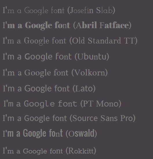 HTML5 Google Fonts for Presentations and Infographics