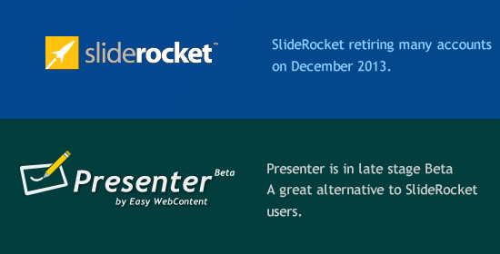 SlideRocket retiring accounts. EWC Presenter is a great SlideRocket alternative