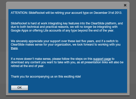 SlideRocket retiring your account type on December 31st 2013
