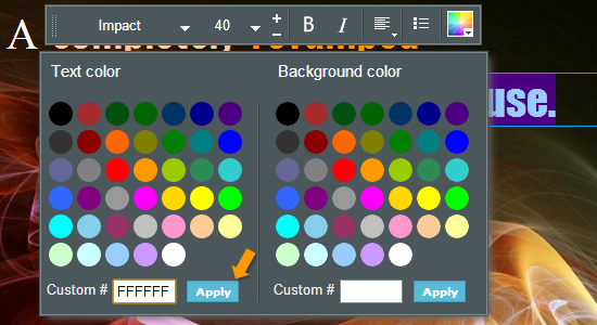 how to modify Color Selection HTML5 text tool
