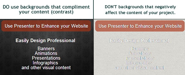 Contrast for better presentation design