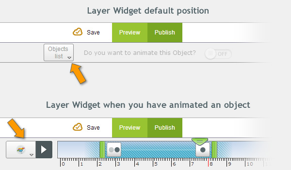 Layer widget position