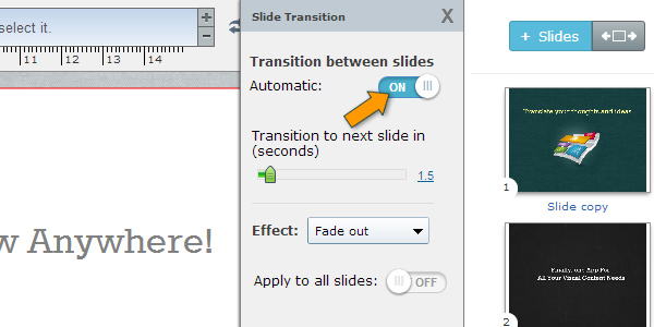 slide transition settings online presentations