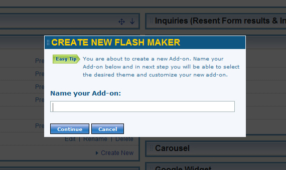Create new Flash piece