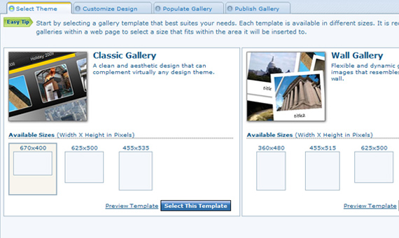 Choose from different gallery templates