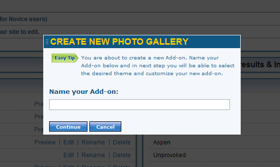 Create galleries and manage them