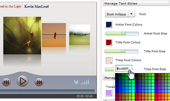 Customize timeline font color and size