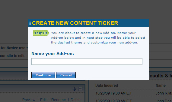 Create new content ticker